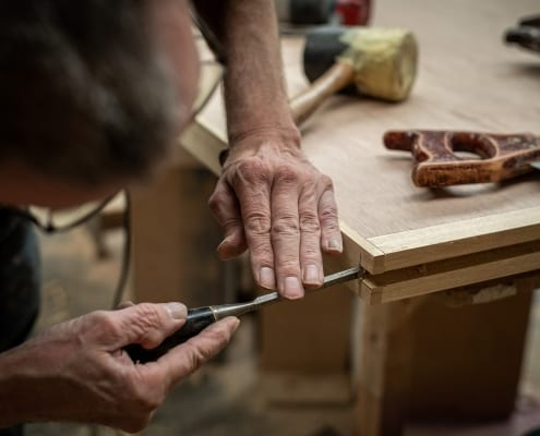 Photo of a skilled joiner at work