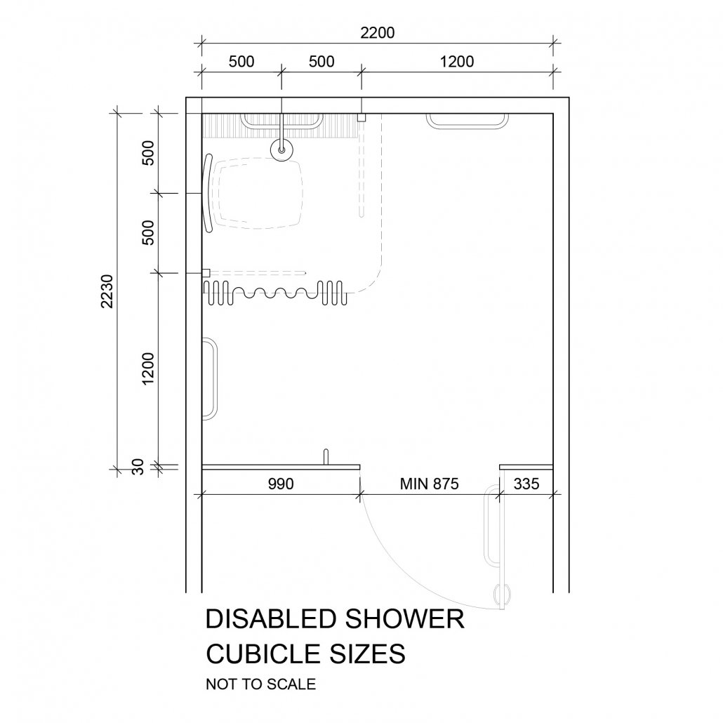 Disabled shower cubicle sizes
