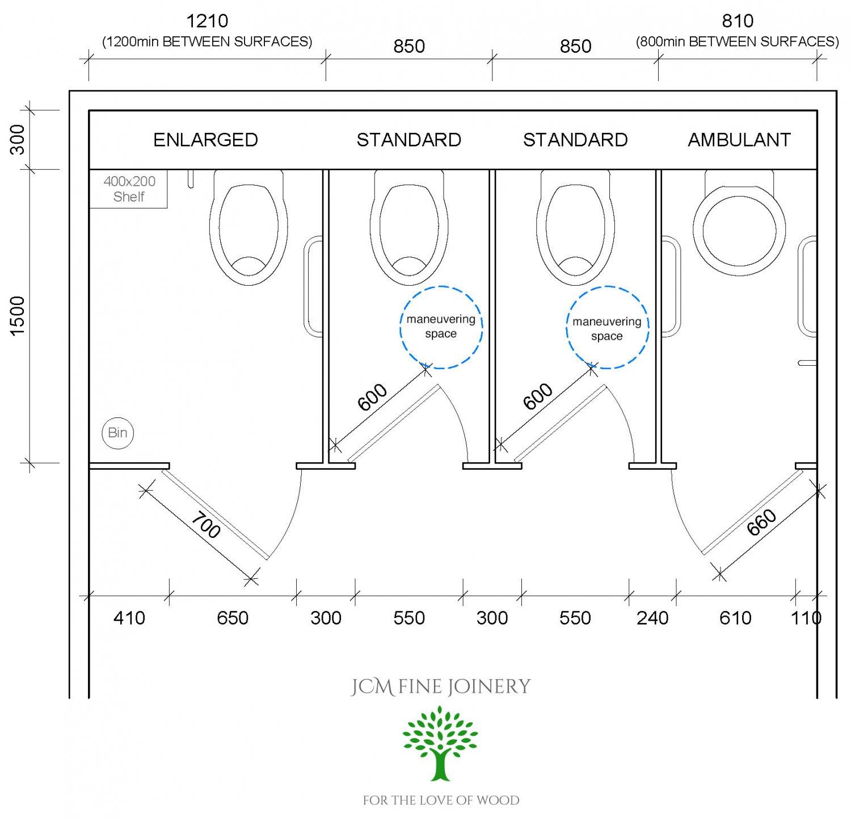 Diagram for UK toilet cubicle dimensions